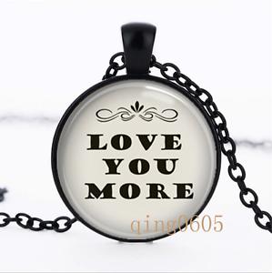 Vous aime plus photo dôme en verre noir chaîne collier pendentif en gros