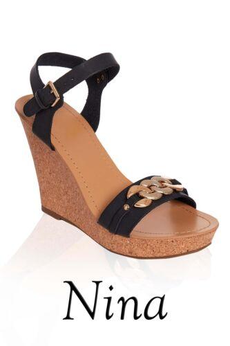 Ladies Womens Designer Style shoes Sandals Black High Heel Cork Wedge Sandal