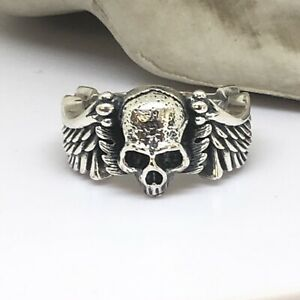 Hallmarked-925-Sterling-Silver-wing-Skull-Ring-Sizeable