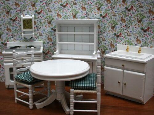 Blanc Cuisine Ensemble de meubles salle de jeu de 1.12 Scale 1//12th maison de poupées miniature