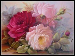 Three Roses - DIY Chart Counted Cross Stitch Patterns Needlework 14 ct Aida