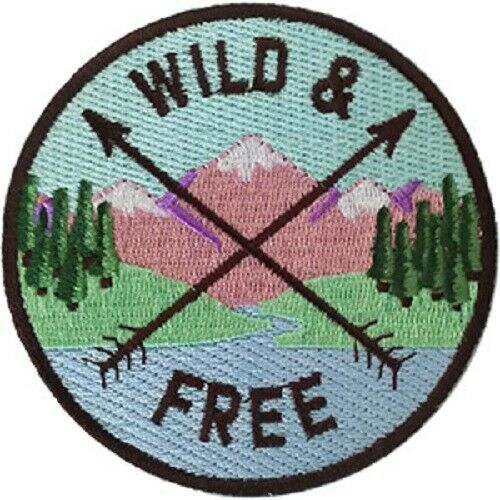"3.6/""Round Outdoors Wild /& Free Patch Embroidered Artwork Sew Iron on"
