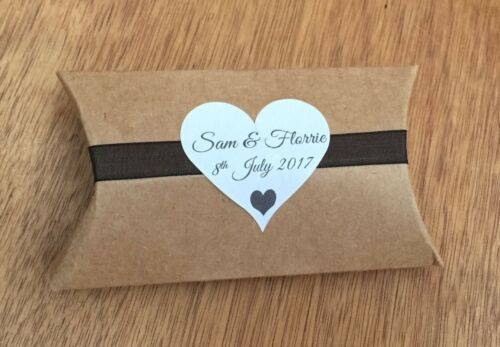 sweet cones bag Personalised wedding heart shape 24 x stickers favours