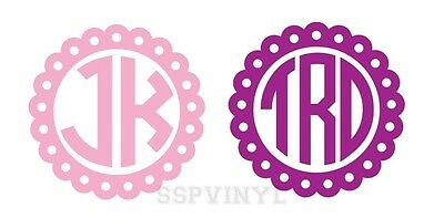 Personalized Scallop Monogram Circle Letter Vinyl Decal