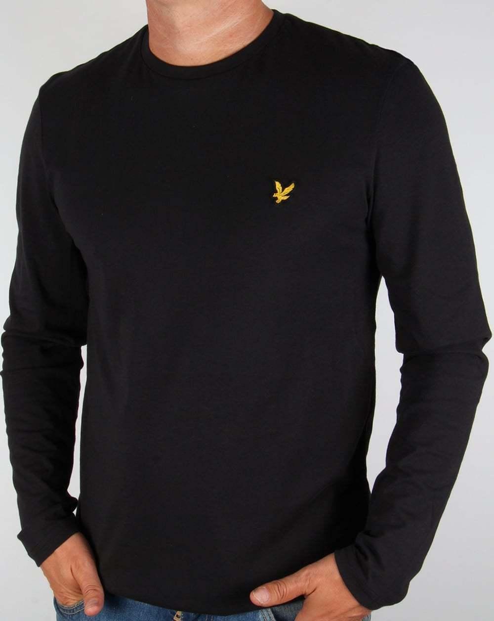 Lyle and Scott Manica Lunga T-Shirt in Nero - 100% COTONE GIROCOLLO