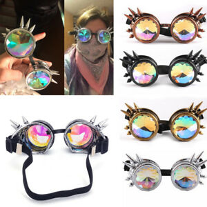 steampunk Rave Diffraction Glasses Rainbow Crystal Band Kaleidoscope Goggles