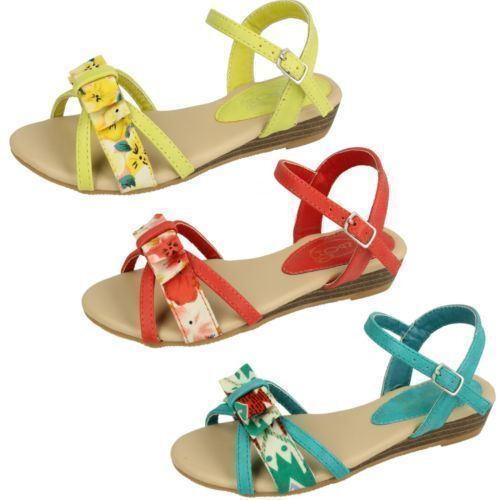 R34A Kett Spot On H0R128 Girls Green Glitter Slip On Summer Beach Sandals