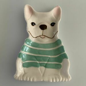 NIB-French-Bulldog-Ceramic-Spoon-Rest-wearing-Green-Striped-Sweater
