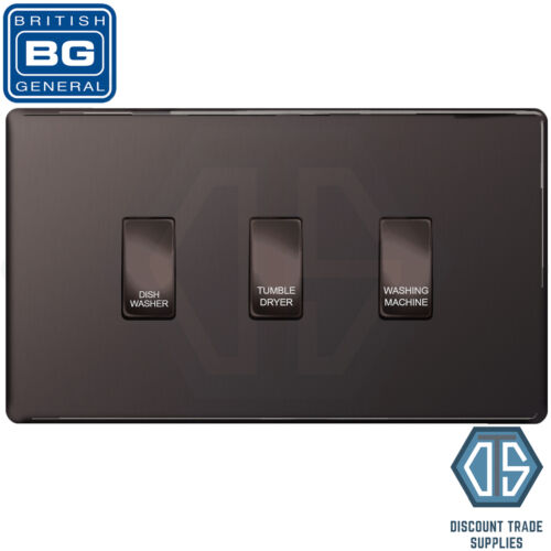 BG Black Nickel Screwless Custom Grid Switch Panel Kitchen Appliance 3 Gang
