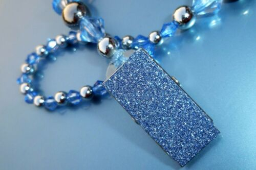 Blue and Silver Sparkle Romany Crystal Bling Baby gift dummy holder clip chain