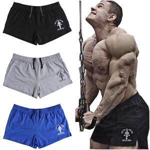 Mens-Shorts-Gym-Bodybuilding-Running-Training-Fitness-Workout-Sport-Cotton-Flex