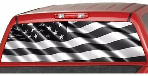 AMERICAN FLAG Banner BW Rear Window Graphic Decal Tint Sticker - Rear window hunting decals for trucksdeers in a forrest bw window graphic tint decal sticker truck