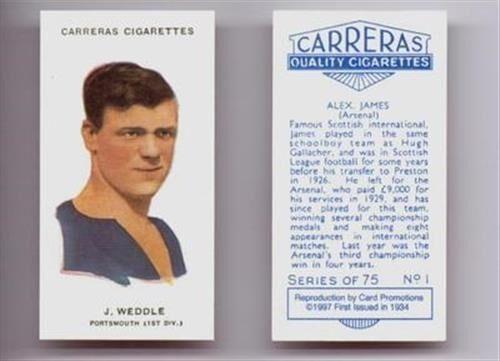 Carreras futbolistas jugador de fútbol tarjeta de cigarrillo 1997 reimpresiones-Varios