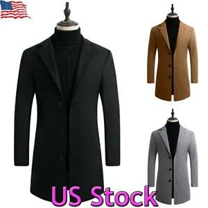 US-Mens-Woolen-Trench-Coat-Single-Breasted-Overcoat-Long-Jacket-Winter-Outwear