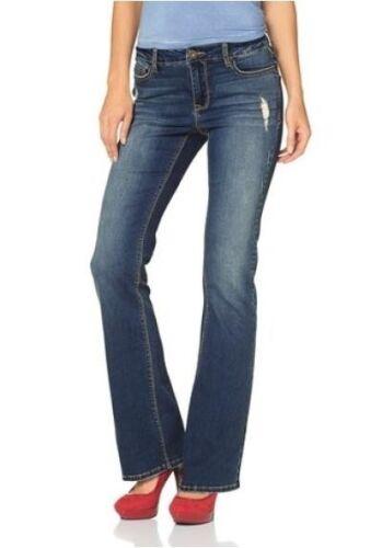 Arizona Bootcut Jeans K-Gr.18-21 NEU Damen Hose Dark Blue Used Stretch Flare L30