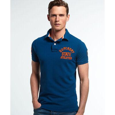 New Mens Superdry Super State Pique Polo Shirt Blue Bottle
