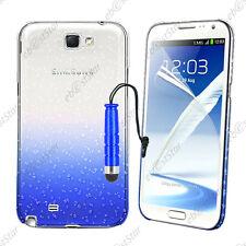 Housse Etui Coque Gouttelettes Bleu Samsung Galaxy Note 2 N7100 + Mini Stylet