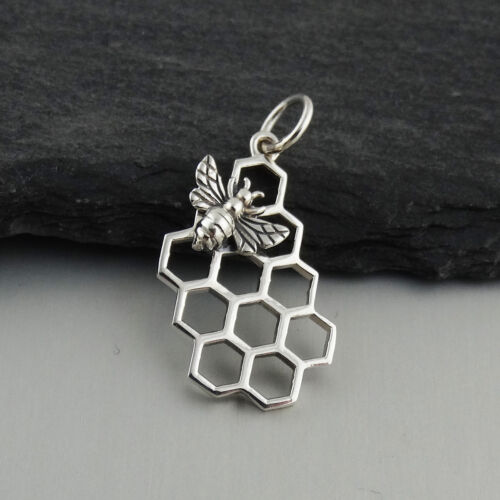 Honey Bee on Honeycomb Charm 925 Sterling Silver Bees Hive Beehive Queen NEW