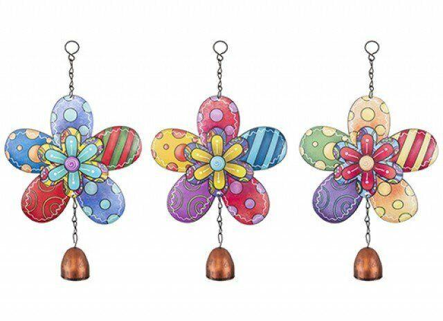 Set of 3 Assorted Coloured Hanging Metal Flower Garden WIndchimes Outdoor Home D