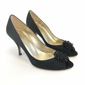 LK-Bennett-UK4-Black-Satin-Leather-Slip-On-Peep-Toes-Court-Heels-Jewelled-Shoes