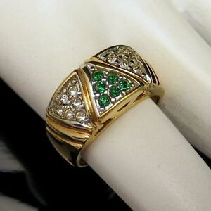 Vintage-Wide-Band-Pinky-Ring-Green-Rhinestones-Gold-Plated-UNISEX-Unique