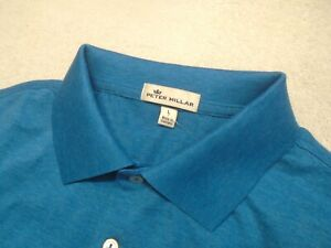 Peter-Millar-100-Cotton-Blue-Solid-Polo-Shirt-NWT-Large-89