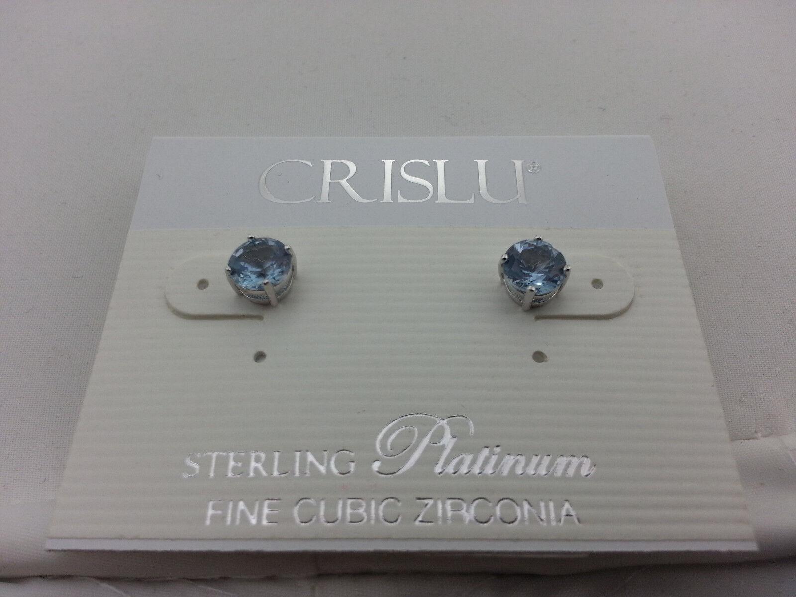 Crislu Sterling Platinum Earrings - Aqua Studs NWT R 60.00