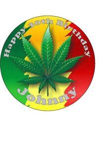 Outstanding Personalised Cannabis Leaf Marijuana Edible Icing Birthday Cake Funny Birthday Cards Online Fluifree Goldxyz