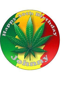 Sensational Personalised Cannabis Leaf Marijuana Edible Icing Birthday Cake Personalised Birthday Cards Veneteletsinfo