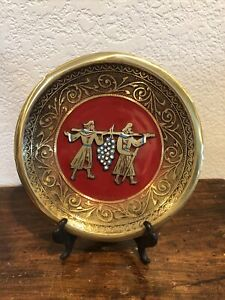 """VINTAGE METAL SEDER PLATE / WALL HANGING RED AND BRASS 8"""" Signed"""