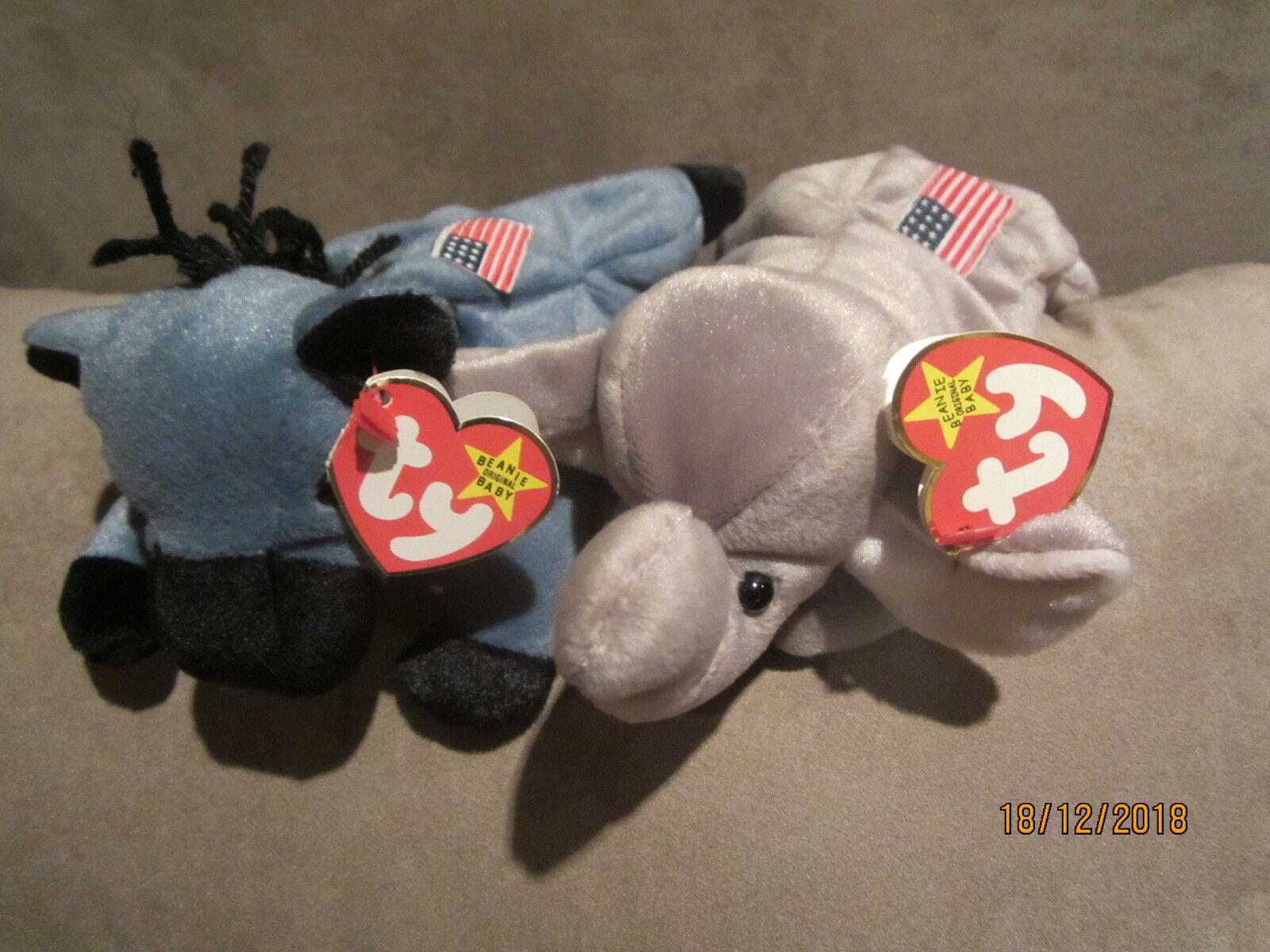 Ty Beanie USA Parteimaskottchen Lefty 4085 und Righty