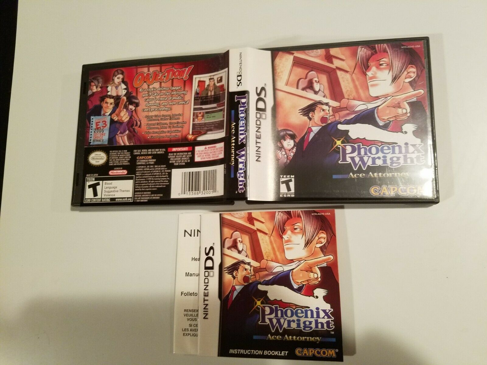 Phoenix Wright: Ace Attorney (Nintendo DS, 2005) Case Artwork and Manual 1