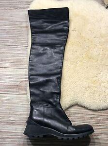 ba4229b5b97 ... Magnifique-bottes-cuissardes-cuir-noir-Prada-38-tbe