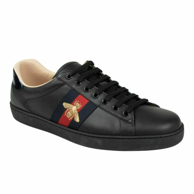 ce8fab63 Gucci Men's Shoes Leather Trainers SNEAKERS Miro Soft Black E22