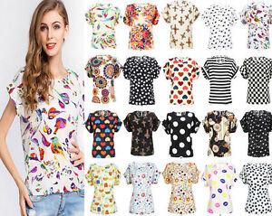 Womens-Floral-Chiffon-Shirt-Blouse-Casual-Loose-Short-Sleeve-T-Shirt-Summer-Tops