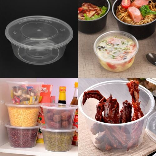 10Pcs Plastic Disposable Lunch Soup Bowl Food Round Container Box With Lids