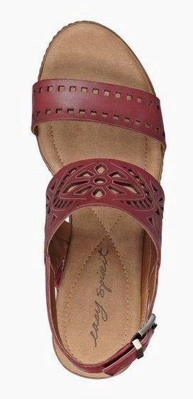 Easy Spirit Kristina wedge sandals RED leather leather leather 3  heels laser cut 11 Md NEW 1399d1