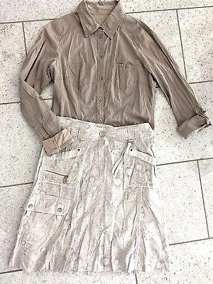 2 Pezzi Estate Donna Outfit Cecil Gonna Grigio Chiaro 28/36 Camicia Edc Taupe 38 Come Nuovo-
