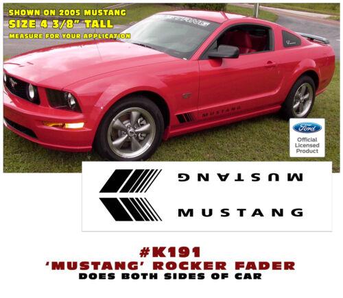 K191 FORD MUSTANG LOWER ROCKER FADER w// MUSTANG DESIGNATION DECAL SET