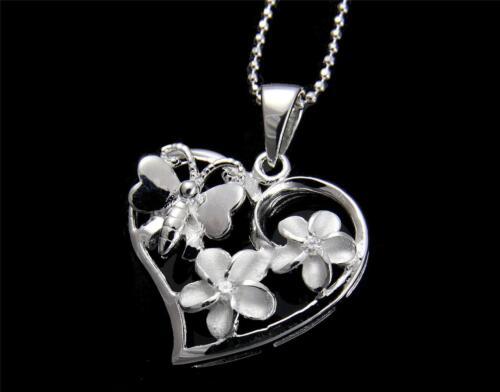 STERLING SILVER 925 HAWAIIAN PLUMERIA FLOWER BUTTERFLY HEART PENDANT CZ