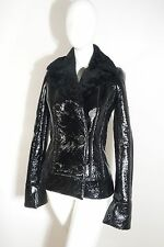 NEW Alexander McQueen Black Patent Leather Shearling Jacket SIZE 38