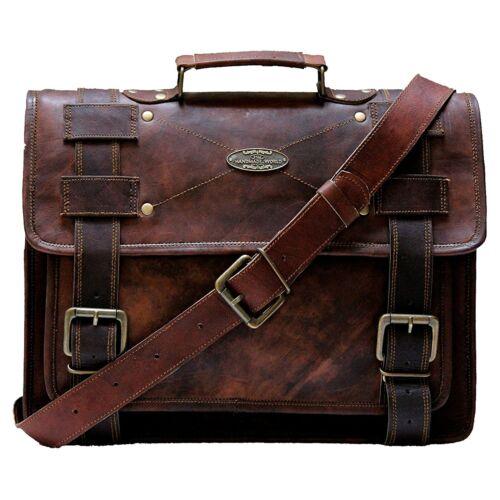 Laptop Bag Vintage Men Brown Leather Briefcase Mes