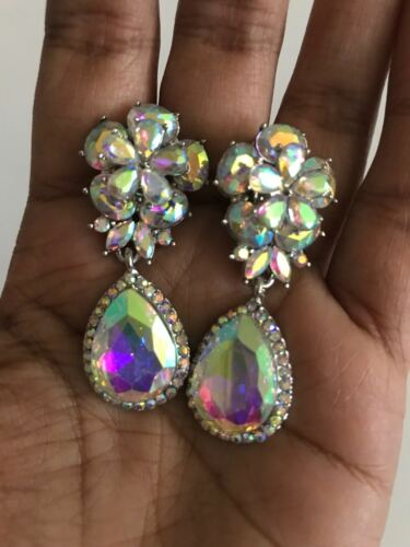 "2"" Long Crystal Silver AB Clear Rhinestone Earrings Dangle Pageant CLIP ON"