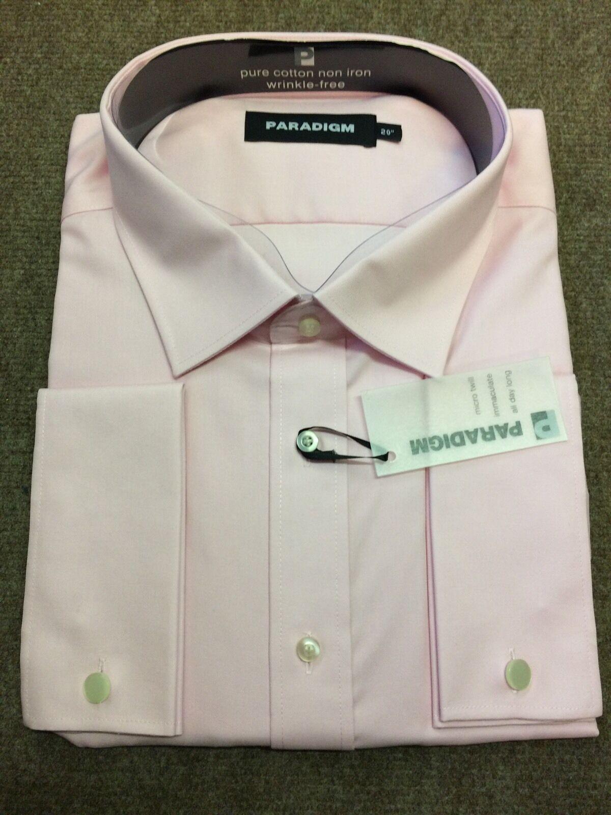PARADIGM ® Puro Cotone Non Stirare DC Camicia Formale rosa tenue - 20  SRP .00