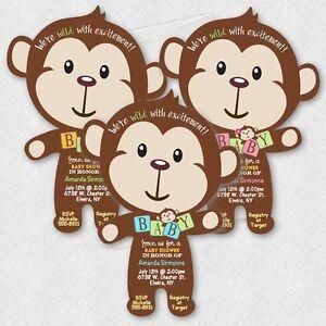 Monkey baby shower invitations mod monkey invitations baby boy image is loading monkey baby shower invitations mod monkey invitations baby filmwisefo