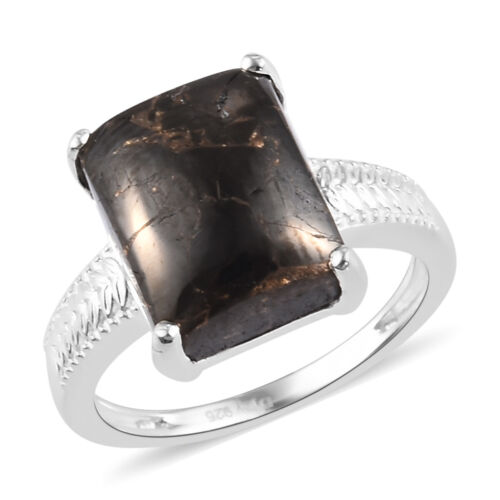925 Sterling Silver Black Karelian Shungite Solitaire Ring Jewelry Size 9 Ct 3.4