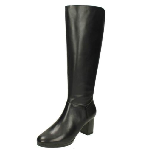 LADIES CLARKS LEATHER ZIP SMART RIDING KNEE HIGH HEELED BOOTS KELDA PEARL SIZE