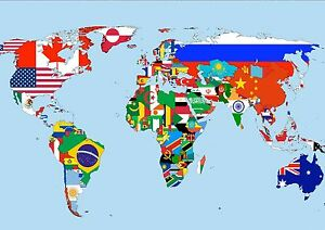 Sticker autocollant poster a4 map monde map world all country tous image is loading sticker decal poster a4 world map map world gumiabroncs Images