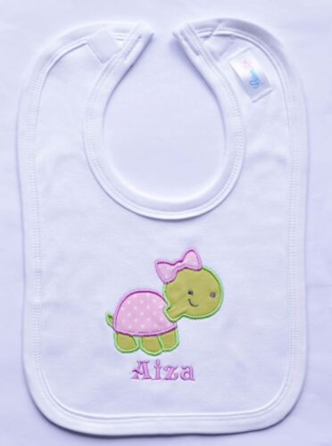 BABY BIB NAME CUTE TURTLE APPLIQUE D.O.B ideal gift. *PERSONALISED*