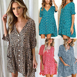 2a3590ed8541 Image is loading Womens-Summer-Leopard-Printed-Mini-Swing-Dress-Floral-